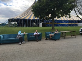 Just chilling' before the gates open